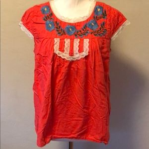 Bright Mexican-inspired Peasant Top
